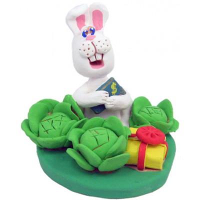 """Статуетка """"Кролики обожнюють капусту"""""""