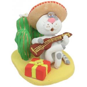 """Статуэтка """"Мексиканский кот-певец"""""""